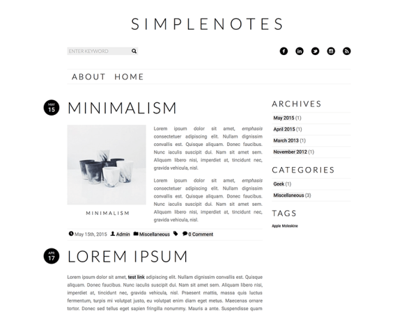 Simplenotes Writers and Authors WordPress Theme